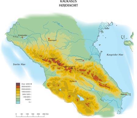 Kort over Kaukasus